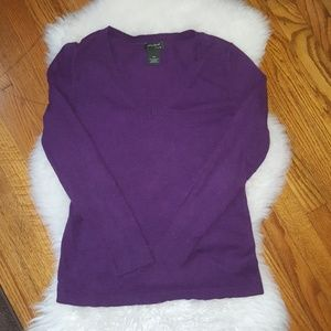 Eddie Bauer cotton cashmere v-neck sweater, purple